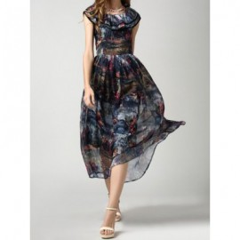 Vintage Scoop Neck Abstract Print Flounce Chiffon Long Dress For Women