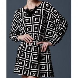 Vintage Scoop Neck Batwing Sleeves Geometric Print Dress For Women
