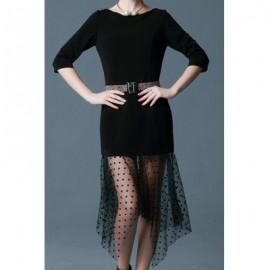 Vintage Scoop Neck Half Sleeves Voile Splicing Irregular Hem Dress For Women