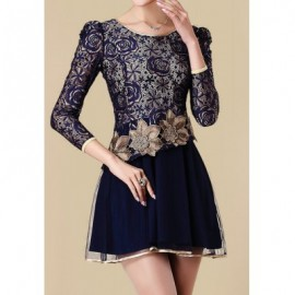 Vintage Scoop Neck Lace Embroidered Long Sleeve Women's Dress