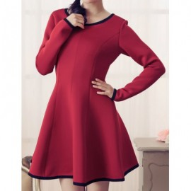 Vintage Scoop Neck Long Sleeves Color Splicing A-Line Dress For Women