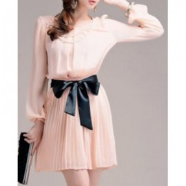 Vintage Scoop Neck Long Sleeves Pleated Chiffon Dress For Women