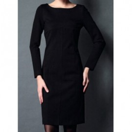 Vintage Scoop Neck Long Sleeves Solid Color Bodycon Dress For Women