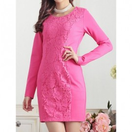 Vintage Scoop Neck Long Sleeves Solid Color Lace Splicing Dress For Women