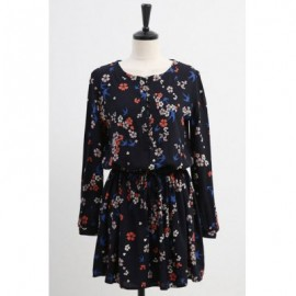 Vintage Scoop Neck Long Sleeves Tiny Flower Print Drawstring Dress For Women