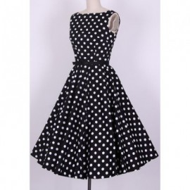 Vintage Scoop Neck Pleated Polka Dot Sleeveless Country Black Dress For Women