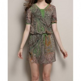 Vintage Scoop Neck Short Sleeve Printed Drawstring Women's Dress