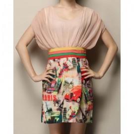 Vintage Scoop Neck Short Sleeve Printed Spliced Women's Dress