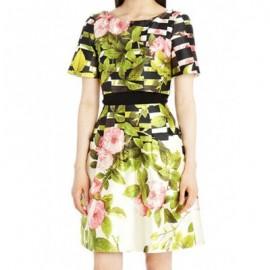 Vintage Scoop Neck Short Sleeves Floral Print Dress For Women