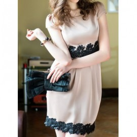 Vintage Scoop Neck Short Sleeves Lace Splicing Dress For Women