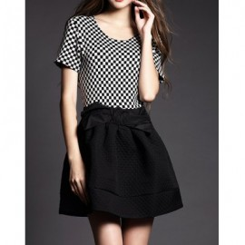 Vintage Scoop Neck Short Sleeves Plaid Splicing Dress For Women