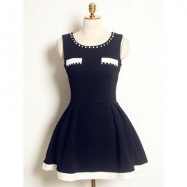 Vintage Scoop Neck Sleeveless Color Splicing Beaded Dress For Women