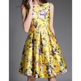 Vintage Scoop Neck Sleeveless Floral Print Pleated Dress For Women