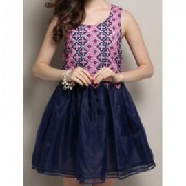 Vintage Scoop Neck Sleeveless Flower Pattern Spliced Women's Dress