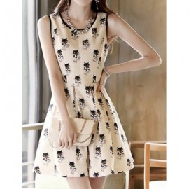 Vintage Scoop Neck Sleeveless Fox Print Dress For Women