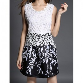 Vintage Scoop Neck Sleeveless Leaves Print Lace Splicing Dress For Women