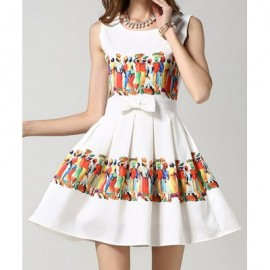 Vintage Scoop Neck Sleeveless Print Splicing Bowknot Dress For Women
