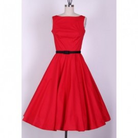 Vintage Scoop Neck Sleeveless Red Pleated Dress For Women