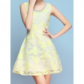 Vintage Scoop Neck Sleeveless Rhinestone Print Dress For Women
