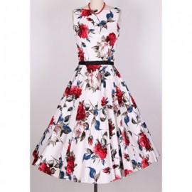 Vintage Scoop Neck Sleeveless Rose Print Pleated Dress For Women