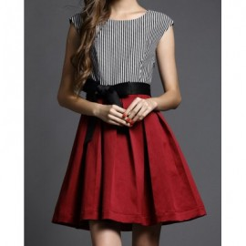 Vintage Scoop Neck Sleeveless Striped Splicing Belt Dress For Women