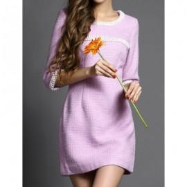 Vintage Scoop Neck Solid Color Beading Dress For Women