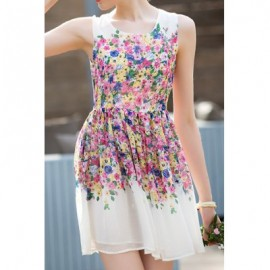Vintage Scoop Neck Tiny Floral Print Sleeveless Dress For Women