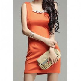 Vintage Sleeveless Solid Color Beading Chiffon Splicing Dress For Women