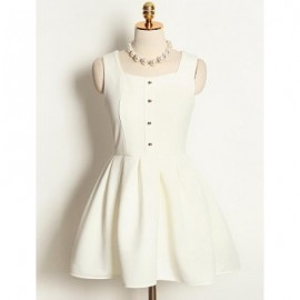 Vintage Square Neck Sleeveless Single Breasted Solid Color Dress For Women