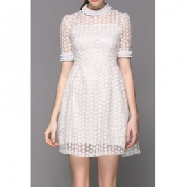 Vintage Stand-Up Collar Half Sleeve Beaded Flower Pattern Women's Dress
