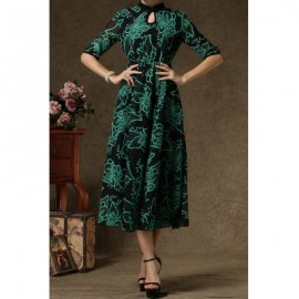 Vintage Stand Collar Floral Print Half Sleeve Maxi Dress For Women