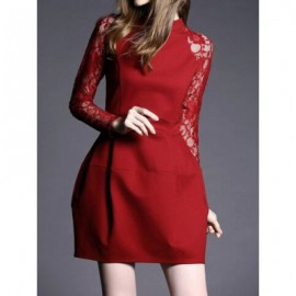 Vintage Stand Collar Long Sleeves Lace Splicing Solid Color Dress For Women