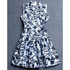 Vintage Stand Collar Sleeveless Print Dress For Women