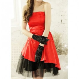 Vintage Strapless Voile Splicing Color Block Asymmetric Prom Dress For Women