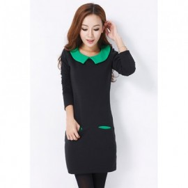 Vintage Style Peter Pan Neck Long Sleeves Color Match Fitted Good Cut Thicken Dacron Women's Dress