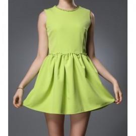 Vintage Style Round Neck Sleeveless Beaded Women's Dress