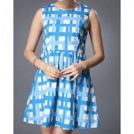 Vintage Style Round Neck Sleeveless Plaid Women's Dress