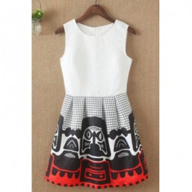Vintage Style Round Neck Sleeveless Printed Women's Dress