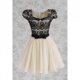 Vintage Sweetheart Neckline Lace Splicing Bow Short Sleeves Women's Dress