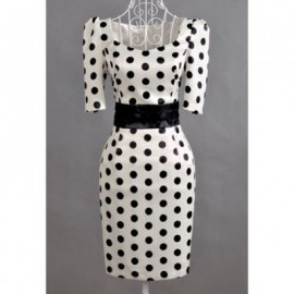 Vintage Sweetheart Neckline Polka Dot Print Rose Brooch 1/2 Sleeve Dress For Women
