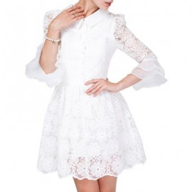 Vintage Turn-Down Collar Embroidered Flounce Lace Dress For Women