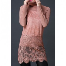 Vintage Turtleneck Long Sleeves Lace Splicing Dress For Women