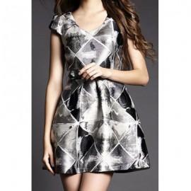 Vintage U-Neck Short Sleeves Printed Dress For Women