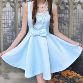 Vintage U-Neck Sleeveless Solid Color Bowknot Dress For Women