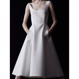 Vintage U-Neck Sleeveless Solid Color Dress For Women