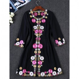 Vintage V-Neck 3/4 Sleeves Embroidered Dress For Women