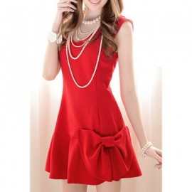 Vintage V-Neck Bowknot Embellished Sleeveless Red Women's Dress