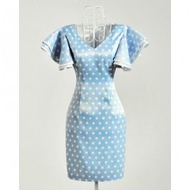 Vintage V-Neck Butterfly Sleeves Polka Dot Dress For Women