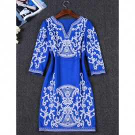 Vintage V-Neck Embroidered 3/4 Sleeves Dress For Women