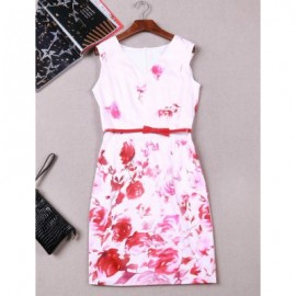 Vintage V-Neck Floral Print Sleeveless Dress For Women